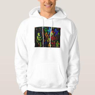 Colores brillantes del collage abstracto del sudadera con capucha