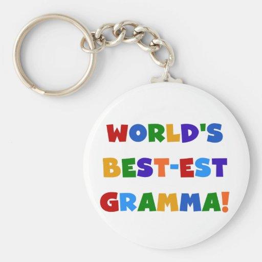 Colores brillantes del Mejor-est Gramma del mundo Llavero Personalizado