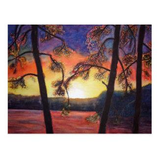 Colores brillantes pintados bella arte K Lindsey Tarjeta Postal