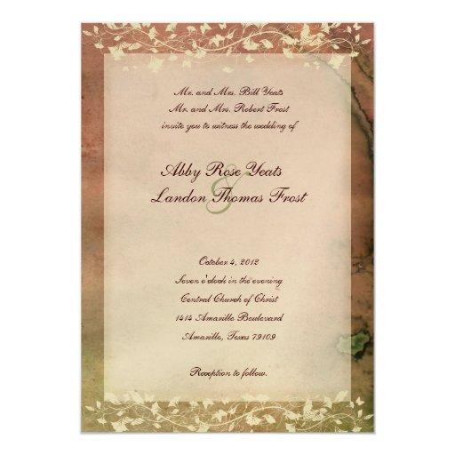 Colores calientes elegantes rústicos que casan la invitación 12,7 x 17,8 cm