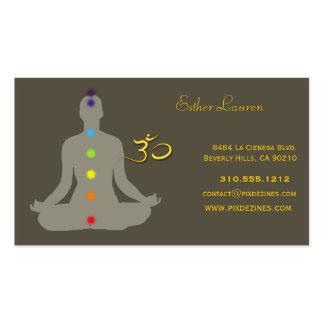 Colores de Chakra, flor de Lotus, yoga de OM, cura Tarjetas De Visita