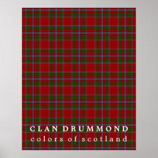 Colores de Drummond del clan del tartán de Escocia Póster