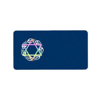 Colores de estrella judíos etiquetas de dirección