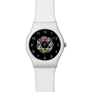 Colores de estrella judíos reloj de mano