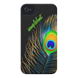 Colores de fondo diy del penacho del pavo real de iPhone 4 cárcasa