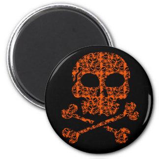 ¡Colores de Halloween!  Cráneos anaranjados y Imán Redondo 5 Cm