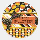 Colores de Halloween de las pastillas de caramelo Pegatina Redonda
