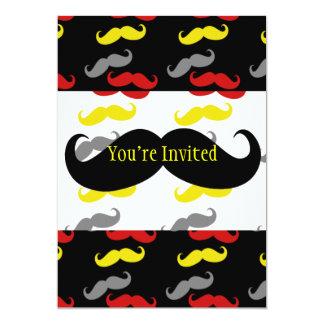 """Colores de hombres del pelo del bigote invitación 5"""" x 7"""""""