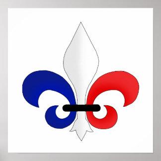 Colores de la bandera de Francia de la flor de lis Posters