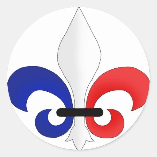 Colores de la bandera de Francia de la flor de lis Pegatina Redonda