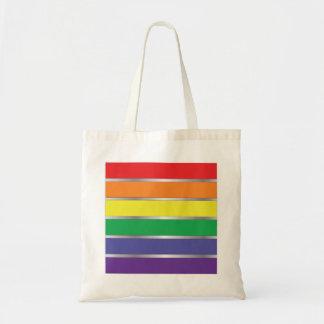 Colores de la bandera del arco iris del orgullo ga bolsa tela barata