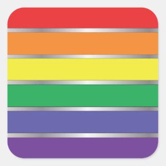 Colores de la bandera del arco iris del orgullo ga calcomanía cuadrada