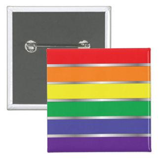 Colores de la bandera del arco iris del orgullo ga pin cuadrado