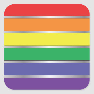 Colores de la bandera del arco iris del orgullo pegatina cuadrada