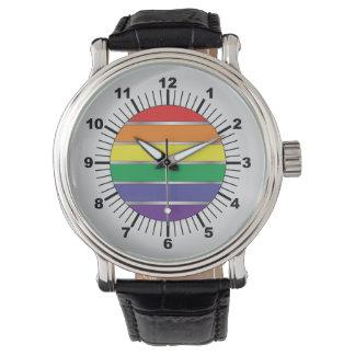 Colores de la bandera del arco iris del orgullo relojes