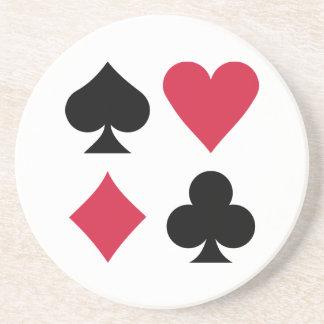 Colores de la baraja del póker posavasos de arenisca