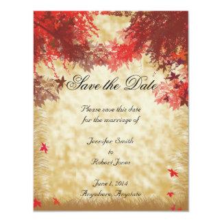 Colores de la caída: Borgoña y ramas rojas en Ecru Invitación Personalizada