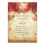 Colores de la caída: Borgoña y ramas rojas en Ecru Invitación 12,7 X 17,8 Cm