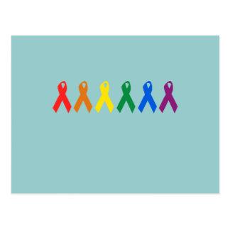 Colores de la cinta del orgullo gay tarjeta postal