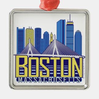 Colores de la ciudad de Boston Adorno Cuadrado Plateado
