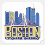 Colores de la ciudad de Boston Calcomanías Cuadradas Personalizadas