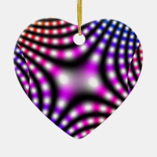 Colores de la fantasía adorno navideño de cerámica en forma de corazón
