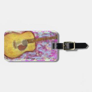 Colores de la guitarra acústica etiqueta de equipaje