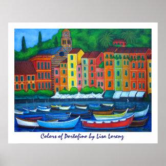 Colores de la impresión de la pintura de Portofino Póster