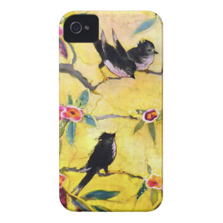 Colores de la mañana Pintura del pájaro en amaril iPhone 4 Case-Mate Coberturas