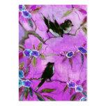 Colores de la mañana: Pintura del pájaro en lila y Plantillas De Tarjetas De Visita