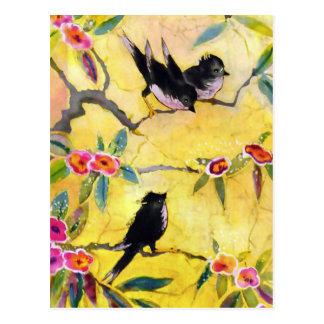 Colores de la mañana: Pintura del pájaro en Tarjetas Postales