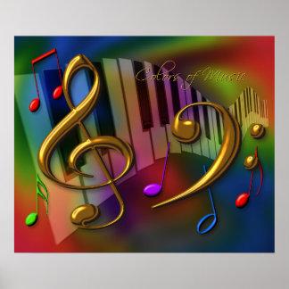 colores de la música 20x24 póster