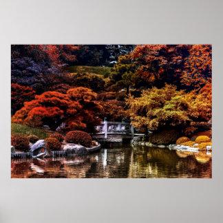 Colores de la naturaleza del paisaje de la caída d póster
