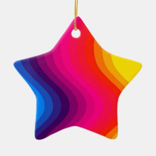 Colores de la onda - ornamento de la estrella adorno navideño de cerámica en forma de estrella