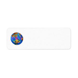 Colores de la paz de mundo etiqueta de remite