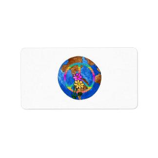 Colores de la paz de mundo etiqueta de dirección