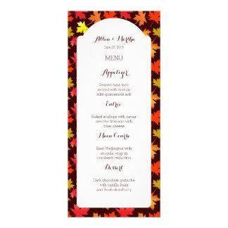 Colores de la tarjeta del menú del boda del otoño tarjetas publicitarias personalizadas