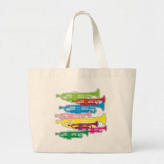Colores de las trompetas bolsa de tela grande