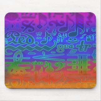 Colores de los símbolos de música Mousepad Tapetes De Ratón