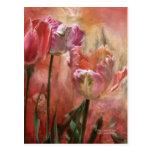Colores de los tulipanes de la postal del arte del