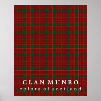 Colores de Munro del clan del tartán de Escocia Póster