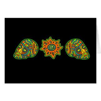 Colores de octubre de los cráneos de los hombres tarjeta de felicitación