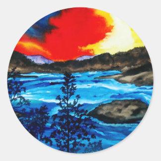 Colores de Oroville Pegatina Redonda