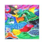 Colores de Puerto Rico - el Caribe Impresión En Lona Estirada