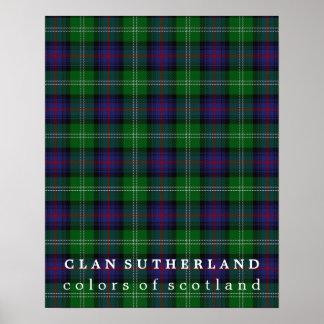 Colores de Sutherland del clan del tartán de Póster