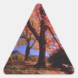 Colores del árbol del otoño pegatinas trianguladas personalizadas