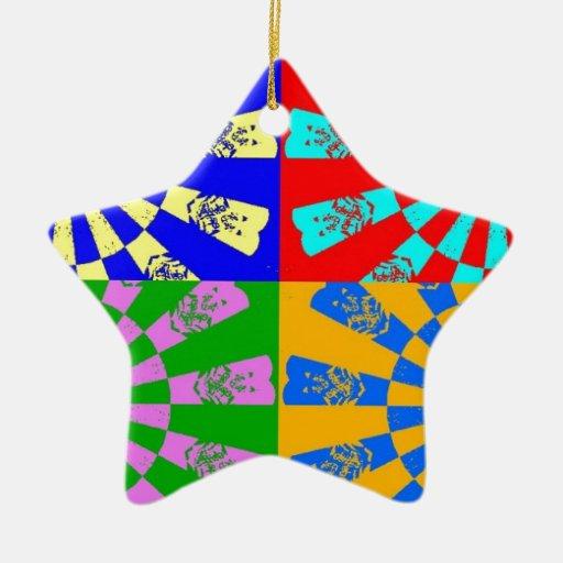 colores del arco iris adorno navideño de cerámica en forma de estrella