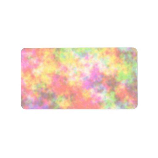 Colores del arco iris. Bonito, nubes coloridas Etiquetas De Dirección