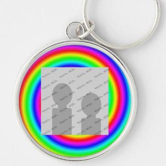Colores del arco iris. Brillante y colorido. Foto  Llavero Redondo Plateado