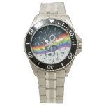 Colores del arco iris de la onda del Clef agudo Reloj